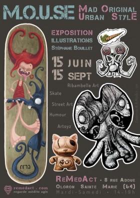 Affiche de l'exposition M.O.U.SE: Mad Original Urban Style au studio de création ReMedAct à Oloron Sainte Marie (64)